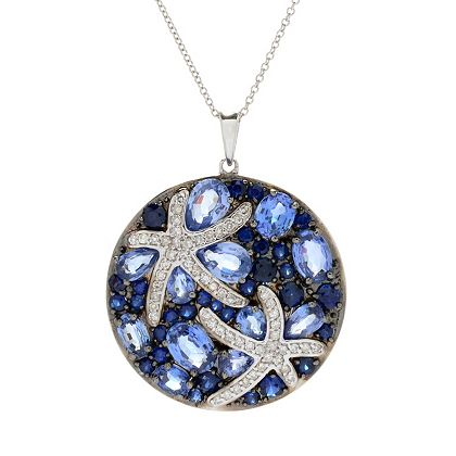 New Items Added Daily At Their Lowest Prices Ever at ShopHQ | 168-867 EFFY Sealife 14K White Gold 5.74ctw Sapphire & Diamond Starfish Cluster Pendant