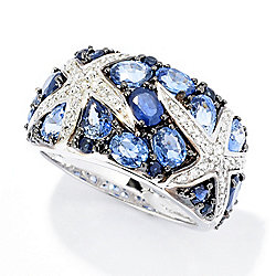 Rings -EFFY Sealife 14K White Gold 3.62ctw Sapphire & Diamond Starfish Cluster Band Ring - 168-868