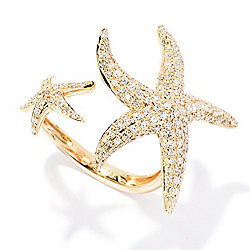 Sealife - EFFY Sealife 14K Gold 0.72ctw Diamond Starfish Open Band Ring - 168-875