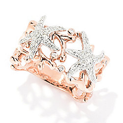 168-878 EFFY Sealife 14K Two-tone Gold 0.26ctw Diamond Starfish & Reef Openwork Band Ring - 168-878