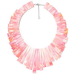 "Gems en Vogue 18.75"" Graduated Pink Conch Shell Bib Necklace w/ 2"" Extender"