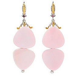 "Gems en Vogue 2.25"" 18mm Pink Conch Shell & Pink Tourmaline Drop Earrings"