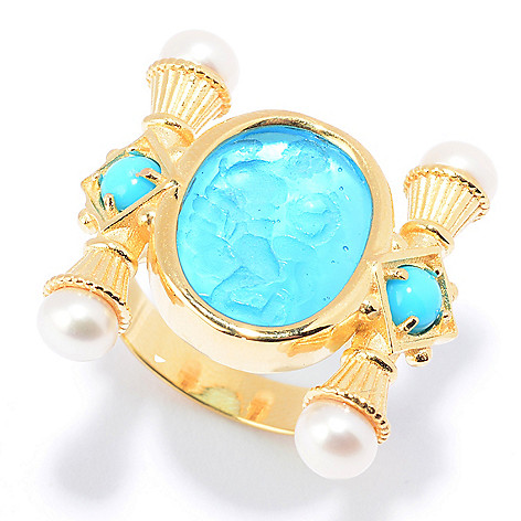 44c97ccafaff Tagliamonte 18K Gold Venetian Glass Doublet   Gemstone Angel Ring ...