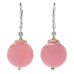 "Gems en Vogue 1.25"" 14mm Madagascar Rose Quartz Bead Drop Earrings"