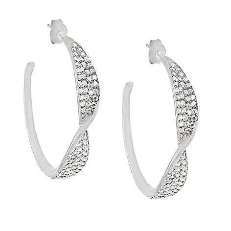 168 995 Valitutti Star Cut Sterling Silver 2 38 Dew Simulated Diamond Twist Hoop Earrings