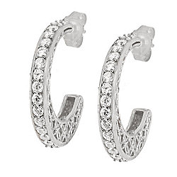 b98a17207 Valitutti Star Cut Sterling Silver 1.89 DEW Simulated Diamond Hoop Earrings