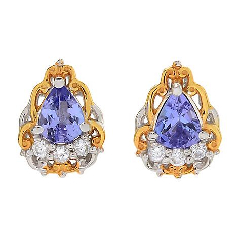 e07a9b79c 169-167- Gems en Vogue Pear Shaped Tanzanite & White Zircon Stud Earrings