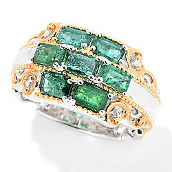 Gems en Vogue 2.04ctw Emerald 7-Stone Cluster Band Ring