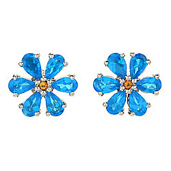 Gemporia 1.84ctw Neon Apatite & Citrine Flower Stud Earrings