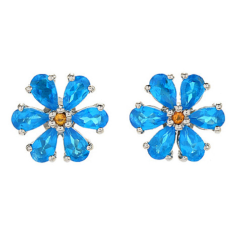 2594032d0 169-317- Gemporia 1.84ctw Neon Apatite & Citrine Flower Stud Earrings