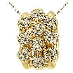 Necklaces & Pendants - Sonia Bitton Galerie de Bijoux® 14K Gold 0.77ctw Diamond Flower Cluster Pendant w 18 Chain - 169-328
