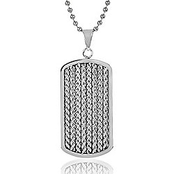 "Steel Impact™ Men's Stainless Steel Braided Rope Inlay Dog Tag Pendant w/ 24"" Chain"