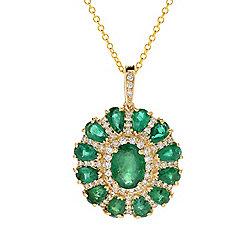 Emerald -EFFY Brasilica 14K Gold 4.20ctw Emerald & Diamond Pendant w 18 Chain - 169-670