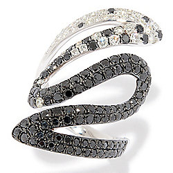 EFFY Caviar 14K White Gold 2.05ctw Black & White Freeform Wrap Ring - 169-672