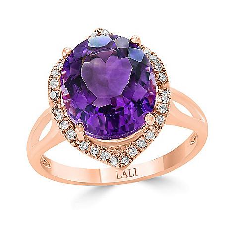 439d53af10630 Jewelle 14K Rose Gold 4.88ctw Oval Amethyst & Diamond Halo Ring ...