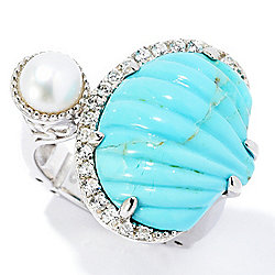 Ocean Dreams - 169-913 Dallas Prince Sterling Silver Carved Gemstone, Cultured Pearl & White Zircon Ring - 169-913