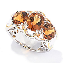 Gems en Vogue 3.80ctw Ametista Madeira Citrine 3-Stone Band Ring