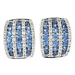 Gem Treasures® Sterling Silver 3.15ctw Ceylon Blue & White Sapphire Earrings