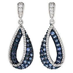 "Gem Treasures® Sterling Silver 1.25"" 1.82ctw Ceylon Blue & Gem Drop Earrings"