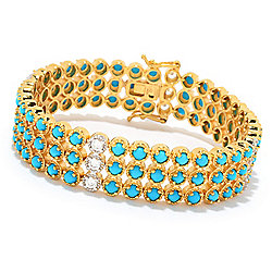 Bracelets - NYC II® Choice of Length Sleeping Beauty Turquoise & White Zircon Bracelet - 170-197