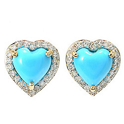 Gem Treasures® 14K Gold 7mm Sleeping Beauty Turquoise & Diamond Earrings