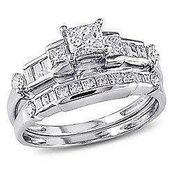Julianna B 14K White Gold 0.99ctw Princess & Baguette Shaped Diamond 2-Piece Bridal Ring Set - 170-281