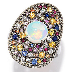 1211ac3bc Victoria Wieck Collection 8mm Ethiopian Opal & Multi Gemstone Cluster Ring