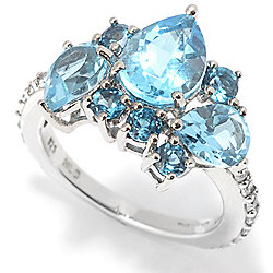 Topaz - Victoria Wieck Collection 4.59ctw Multi Cut Blue Topaz & White Zircon Ring - 170-524