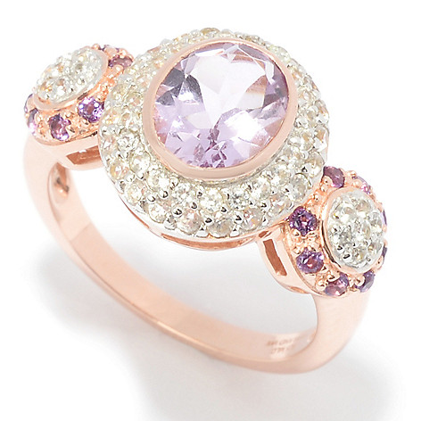 aeaf7c7853857 Victoria Wieck, Collection 2.69ctw Amethyst &, White Zircon, East-West Ring