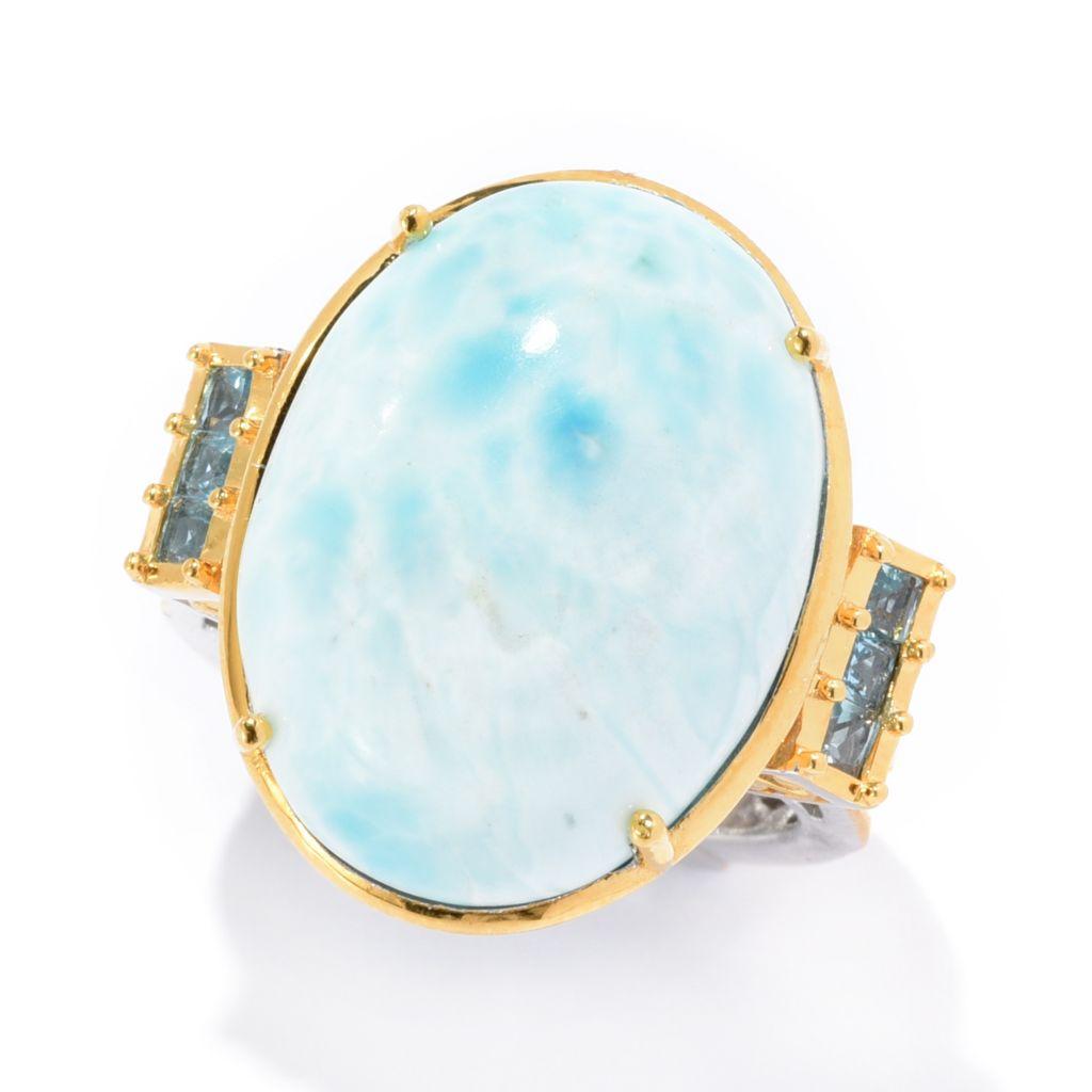 Gems en Vogue 20 x 15mm Oval Shaped Larimar & Swiss Blue Topaz Cocktail Ring - 170-995