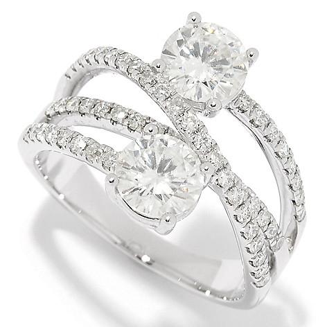 171 038 Forever Brilliant Moissanite 14k White Gold 2 15 Dew Crisscross Ring