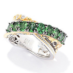 Gems en Vogue 1.53ctw Tsavorite Garnet 9-Stone Highway Ring