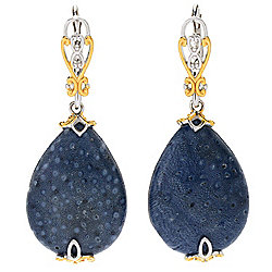 Gems en Vogue 20 x 15mm Pear Shaped Blue Coral Bead Drop Earrings