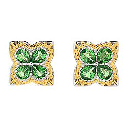 Earrings - Gems en Vogue 1.52ctw Tsavorite Garnet 4-Stone Flower Stud Earrings - 171-571