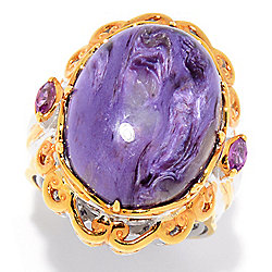 Gems en Vogue 20 x 15mm Oval Charoite & Color Change Garnet Ring