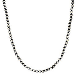 "Sunwest Silver Oxidized & Satin Finished Beaded Necklace w/ 2"" extender"