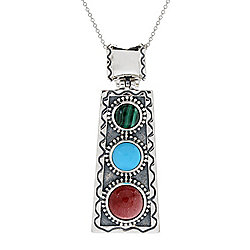 "JOYA Southwest by Judy Crowell Sterling Silver Multi Gemstone Enhancer Pendant w/ 18"" Chain"