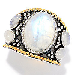 JOYA by Judy Crowell Sterling Silver 14 x 10mm Oval Rainbow Moonstone 5-Stone Ring