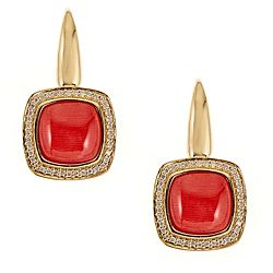 Coral 171-709 Fierra™ 18K Gold 1 Red Coral & Diamond Halo Drop Earrings - 171-709