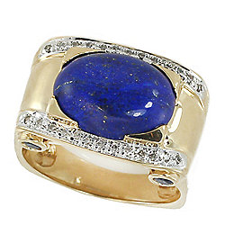 Men's en Vogue The Vault 14K Gold 16 x 12mm Lapis, Sapphire & Diamond Ring - Size 12