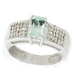 Gems en Vogue The Vault 14K White Gold 3.16ctw Green Aquamarine & Diamond Band Ring - Size 7