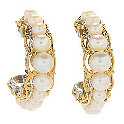 Gems en Vogue Freshwater Cultured Pearl Graduated J-Hoop Earrings