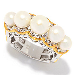 Gems en Vogue Freshwater Cultured Pearl 5-Stone Graduated Band Ring