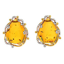 Gems en Vogue 20 x 15mm Pear Shaped Amber Scrollwork Stud Earrings