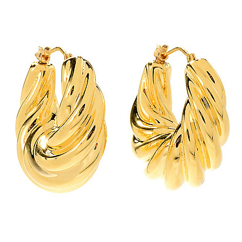 e2c1f94cdc8d5 VOGA Collection 18K Gold Electroform Graduated Hoop Earrings, on sale at  evine.com