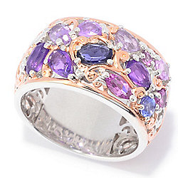 "Gems en Vogue ""Carnaval"" 2.04ctw Multi Gemstone Wide Band Ring"