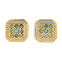 Gems en Vogue Alexandrite 9-Stone Square Cluster Stud Earrings