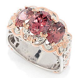 Gems en Vogue 4.40ctw Oval Rose Zircon 3-Stone Ring