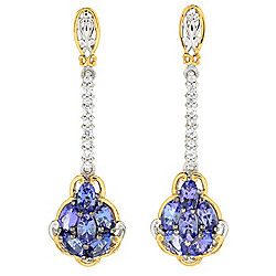 "Gems en Vogue 1.75"" 4.13ctw Tanzanite & White Zircon Drop Earrings"