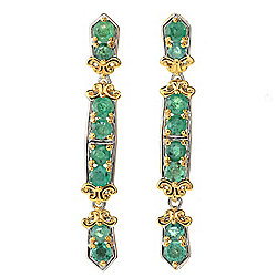 "Gems en Vogue 1.5"" 1.06ctw Zambian Emerald Dangle Earrings"